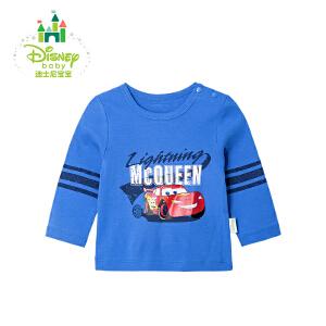 迪士尼Disney童装男童T恤春秋纯棉男宝宝长袖上衣外出服171S887