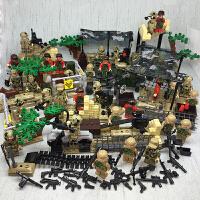 兼容乐高狼牙野战队特种兵军事人仔积木海豹部队解放战争装备 带场景