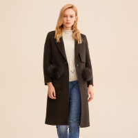 毛呢外套女迪赛尼斯时尚中长款羊毛呢子大衣双面呢