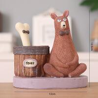 树脂小熊创意笔筒时尚可爱卡通动物学生桌面收纳盒办公用品摆件