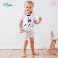 迪士尼Disney童装 女宝宝连体衣婴儿纯棉透气爬服夏季新款Q版公主印花圆领上衣192L777