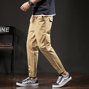 夏季男士9分休闲裤薄款修身束脚九分裤子韩版小脚裤个性