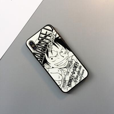 iPhone6plus海贼王手机壳苹果6路飞玻璃壳6SP索隆挂绳挂饰6P艾斯保护套6S动漫卡通潮牌情 /s 4.7寸玻璃 路飞 不送爱心手绳