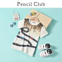 【专区119元4件】铅笔俱乐部童装2020夏装新款男童圆领T恤中大童休闲上衣儿童短袖