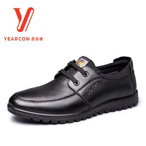 意尔康男鞋2016新款秋季新款男士男士圆头系带商务休闲皮鞋