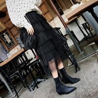 2018新款时尚半身裙 韩版高腰裙黑色纱裙冬裙女中长款 黑色 均码