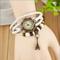 韩版时尚复古学生手链表 法国巴黎铁塔编制手表 罗马复古表 女士手表
