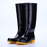 高帮雨鞋男黑色高筒牛筋防滑耐磨工地劳保工作防水男女胶鞋雨靴 黑色