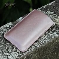 iPhone se手机套苹果4S/5s/5c直插皮套保护套手机内胆包手机袋 SE玫瑰金 加大