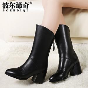 波尔谛奇2017秋季新品头层牛皮骑士靴高跟中筒靴时尚女靴子6256