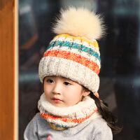 儿童帽子秋冬季男女童护耳加绒保暖宝宝毛线帽围巾两件套装加厚潮 均码