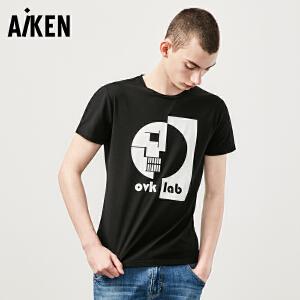 森马旗下aiken/爱肯短袖T恤男士夏装新款圆领半袖体恤男修身个性潮牌