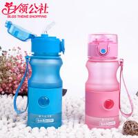 白领公社 塑料杯 创意简约男女学生杯子韩版水杯带盖情侣随手咖啡杯水杯水具