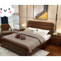 现代中式实木床双人1.8米储物高箱1.5m橡木1.35/1.2单人床 床+1个床头柜+10公分棕垫 (颜色备注) 18