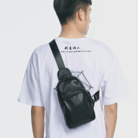 新款韩版潮斜跨小背包时尚男士胸包休闲单肩斜挎包PU皮质包包