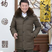 冬季中年男装修身加绒加厚中老年羽绒服男士中长款爸爸冬装外套男
