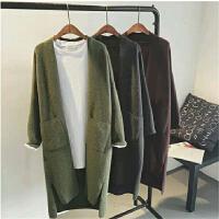 秋冬季女装毛衣中长款超宽松显瘦纯色胖mm加肥加大码针织开衫外套