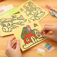 沙画儿童彩沙套装砂画纸彩砂细沙沙子画沙画手工制作diy 益智玩具