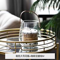 创意唯美手提玻璃北欧水培花瓶花盆插花收纳家居装饰透明罐摆件