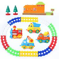 带轨道的小汽车玩具儿童拼装电动轨道车玩具套装火车小汽车益智宝宝1-3-5岁男孩卡通A 卡通工程车轨道