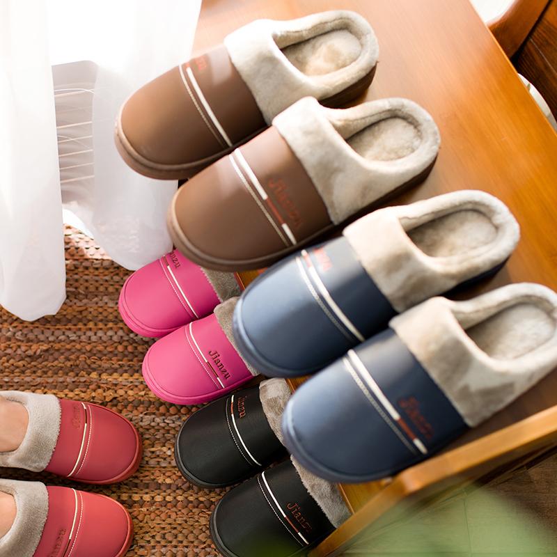 棉拖鞋女冬防水男居家室内厚底情侣冬季pu皮拖鞋男士棉拖家居保暖