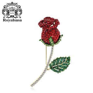 皇家莎莎胸针女 玫瑰花朵仿水晶胸花别针领针时尚情人节生日礼物