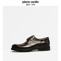 皮尔卡丹新年秋冬新款布洛克皮皮鞋圆头系带耐磨厚底英伦商务男鞋