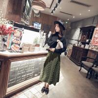 韩国秋冬新款宽松军绿麻花针织裙子半身裙中长款毛线裙女