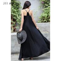 JII AMII连衣裙女2018夏季新款显瘦吊带露肩黑色长裙