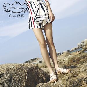 玛菲玛图凉鞋2018新款女夏季欧美打蜡牛皮圆头露趾铆钉一字扣带厚底沙滩鞋M19810881T39