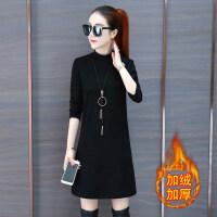 女式黑色加绒打底衫女长袖内搭半高领T恤秋冬新款韩版中长款上衣