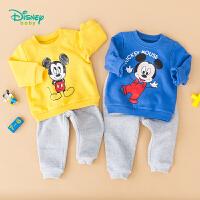 【2.6折价:79】迪士尼Disney童装 男童米奇印花套装 保暖抓绒卫衣+休闲长裤两件套193T946
