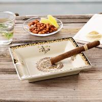 欧式客厅烟灰缸创意家用陶瓷雪茄大号复古土豪金潮流时尚烟缸