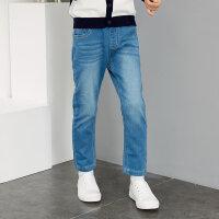 【1件3折到手价:44.7】米喜迪mecity童装春新款基本男童裤子原色舒适好搭牛仔长裤