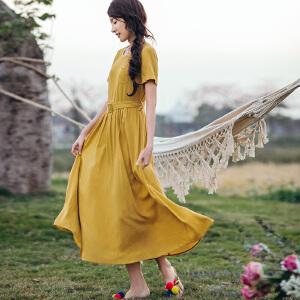 茵曼夏装新款圆领腰带收腰净色短袖连衣长裙女连衣裙【1882102116】