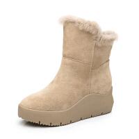 �仍龈咂っ�一�w女雪地靴短筒短靴加�q加厚冬季中筒真皮�n版百搭潮真皮