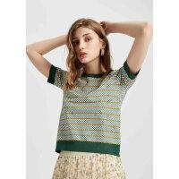 【1件4折到手价:142】MECITY女装时尚修身撞色条纹牛油果绿短袖毛衫