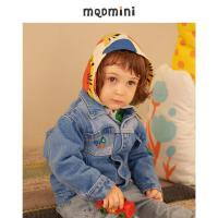 【2件3折后价:180】MQD童装2021秋装男小童梭织牛仔外套新款假两件连帽绣花百搭上衣