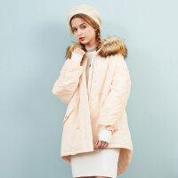 【1件3折到手价:134.97】美特斯邦威棉服外套女显瘦韩版冬装新款潮流收腰毛领派克潮