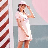 【狂欢返场,专区1件3折】美特斯邦威2018夏季新款潮流V领连衣裙女简约百搭T恤群宽松bf风