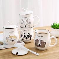 创意可爱陶瓷杯子 大容量水杯简约带盖带勺马克杯情侣咖啡杯牛奶杯