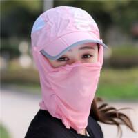遮阳帽女骑车防晒可折叠凉帽户外面纱遮脸护颈太阳帽子夏天LCQ 升级版-- 可调节,多种戴法