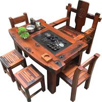 茶桌椅中式实木家具组合客厅阳台功夫茶几简约现代休闲茶台 2米桌+2椅+3凳送雕龙主椅 送茶具+电磁炉 整装