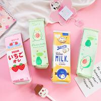 卡通简约牛奶盒笔袋韩国创意大容量中小学生可爱文具女简约铅笔盒