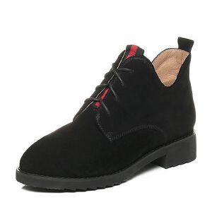 Tata/他她2017冬黑色牛剖层皮英伦条纹休闲绑带方跟女短靴10628DD7