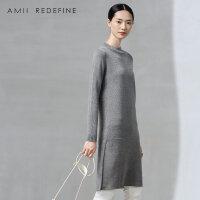 [AMII东方极简] JII AMII2016秋冬季新款女装长袖连衣裙直筒圆领套头中长裙女