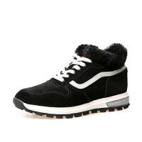 毛毛运动鞋女冬加绒女鞋冬季跑步鞋原宿风韩版平底黑色休闲棉鞋子软底 黑色