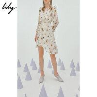 【此商品参加2件2折,预估到手189.8元】SMART系列Lily春新款女装木耳边不对称连衣裙118340C7223