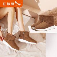 【红蜻蜓限时秒杀】红蜻蜓雪地靴女冬季新款运动短筒靴子女短靴女加绒棉鞋女