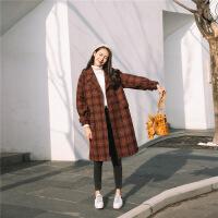 毛呢外套女中�L款�n版2018秋冬新款千�B格子流行森系百搭妮子大衣